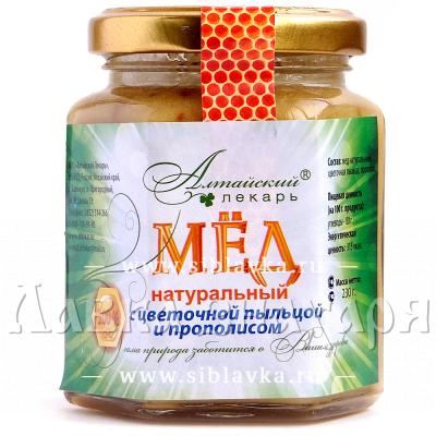 Купить Мед натуральный с цветочной пыльцой и прополисом