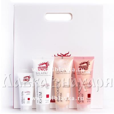 Купить Подарочный набор «SILAPANT» №3 Крем для лица + крем-гель для кожи вокруг глаз + фитокрем для рук + фитокрем для ног